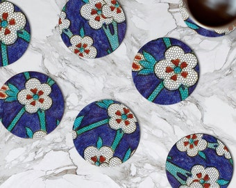 Morocco Coasters Set Glass Coaster Mom Gift Kitchen Decor Flowers Coaster Restaurant Accessories Bar Coaster Marble Beverage Coasters Office