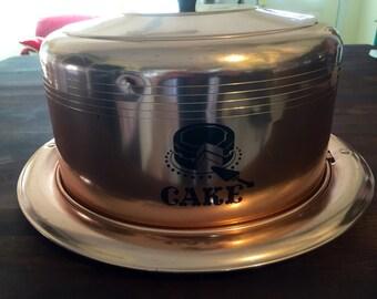 Vintage Aluminum Copper West Bend Cake Carrier