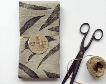 Natural unbleached linen kitchen teatowel hand block printed eucalyptus leaves with non toxic ink