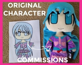 OC COMMISSIONS - original character commission, custom plush character, custom stuffed animal, anime plush, oc commission, custom plushie