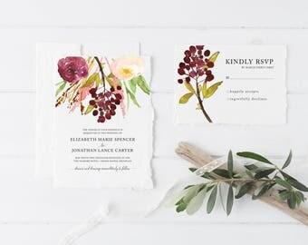 "Digital Printable Wedding Suite | Watercolor Wedding Invitation | Floral Wedding Invitation | ""Love Letters"""