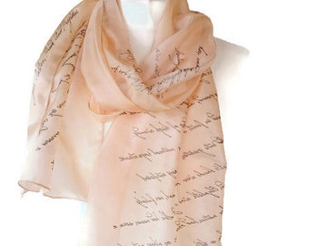 Pride and Prejudice Jane Austen Book Scarf,  Hand Painted Silk Scarf 18X72 inch. Gift-Wrapped, READY to Ship,  more color avaliable