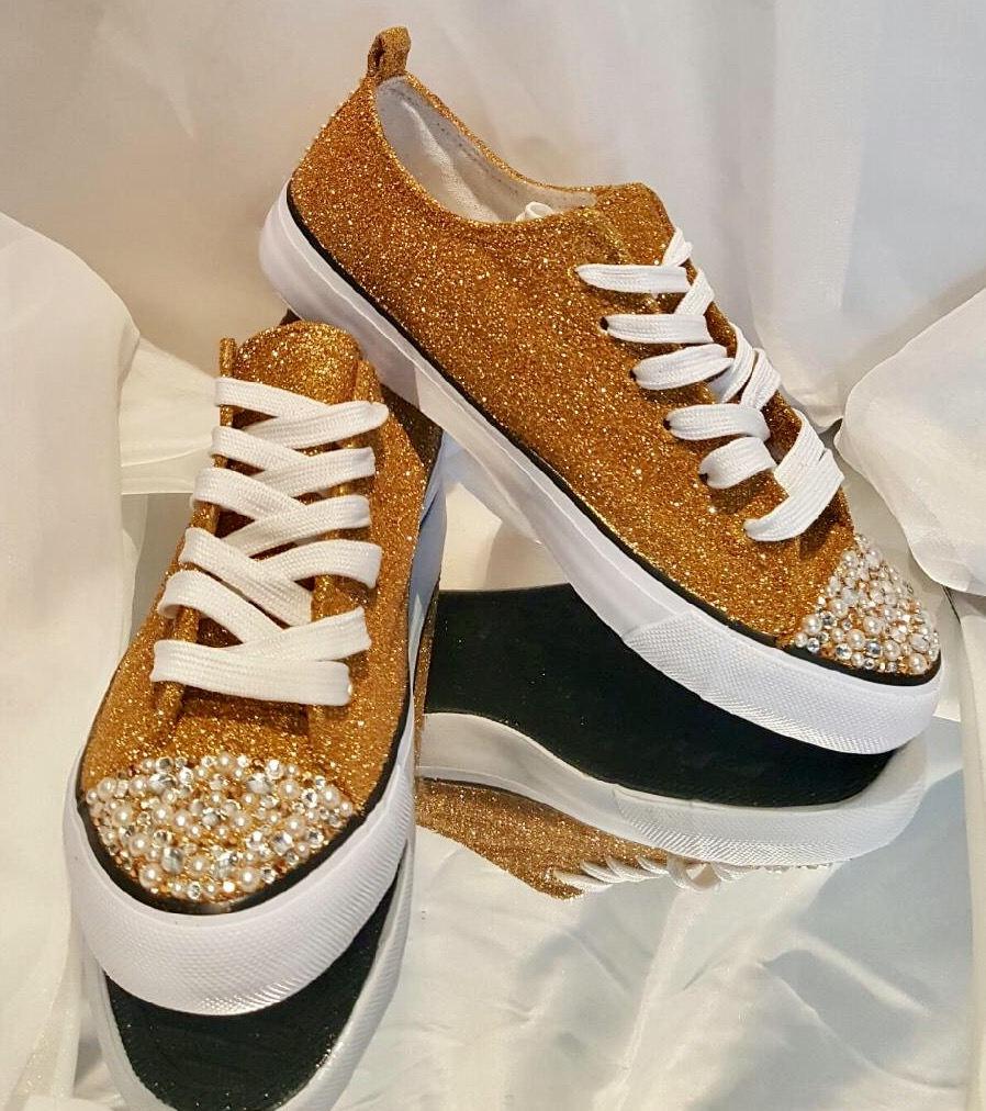 Womens Custom Gold Glitter Converse Custom Rhinestone Pearl