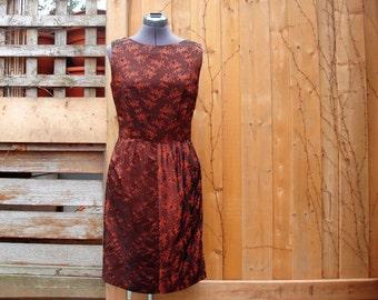 Vintage 1950's or 1960's Copper Taffeta  Sheath / Wiggle Dress