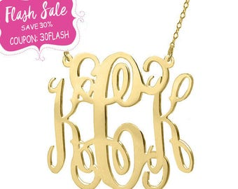 Gold Monogram Necklace - 1.5 inch 18k gold plated pendant Choose Any initial 925 silver