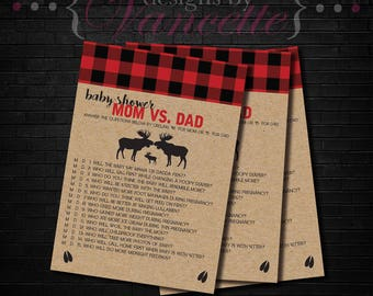 Lumberjack Mom Vs Dad, Lumberjack Baby Shower Mom Vs Dad, Baby Shower Mom Vs Dad, Baby Shower Game, Lumberjack Baby Shower Game, Mom Vs Dad