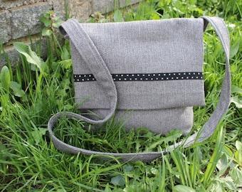 Grey Handbag, Grey, Bag, Handbag, Crossbody Handbag, Recycled Handbag, Teenager's Bag, Messenger Ladies Handbag, Messenger Handbag Small Bag