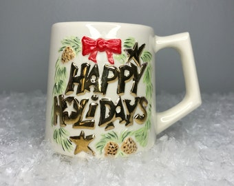 SALE! super cute vintage happy holidays mug