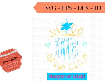 Elsa inspired Monogram Crown Cut Files - cameo - cricut - cut file - Frozen inspired svg - (Monogram file sold seperately) - .SVG - .ZIP