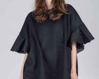 Black oversized tunic / Woman's textured shapeless tunic / Plus size black dress / Fashion woman's tunic with sleeves / Fasada 1798