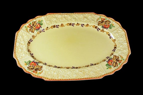 12-Inch Platter, Myott Staffordshire, Embossed, Grapes, Flowers, and Leaves, Cream Colored, Hard to Find, Made In England