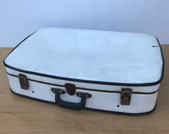 Old suitcase travel white year 1960 Vintage trunk