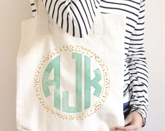 Monogrammed Tote Bag, Bridesmaid Totes, Personalized Gifts for Bridesmaids, Zipper Tote, Initial Tote Bags, Bridesmaid Initial Gift, Wedding
