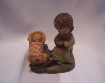 ANRI Rock A Bye Baby Figurine Wood Carved by Juan Ferrandiz