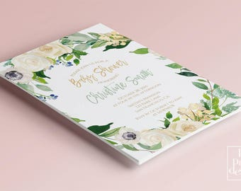 Floral Baby shower party invitation botanical printable baby shower invitation design pink girl boy baby shower digital design invitation