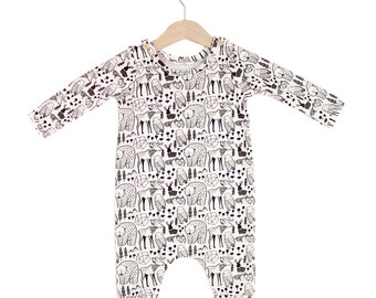 Nordic Animals Organic Cotton Baby Long Sleeve Romper