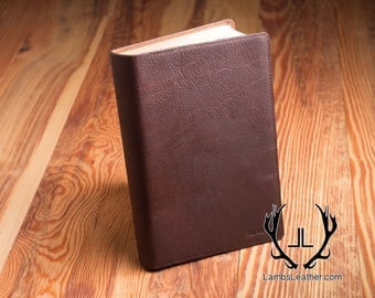 Mens Leather Bible Cover,Full Leather Cover, Leather Bible, Genuine Leather Bible  Book Cover, KJV/ Amplified Bible, Leather Cover, MBC #5