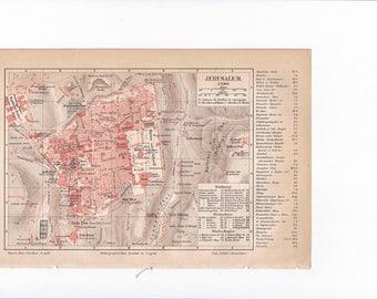 """Lithography, """"City plan of Jerusalem""""."""