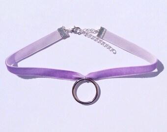 Lilac Velvet Ring Choker