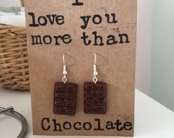 I love you more than Chocolate Greetings card with chocolate dangle earrings, dark chocolate milk chocolate