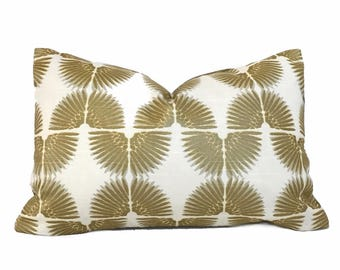 "Designer Art Deco Metallic Gold Cream Cotton Print Pillow Cover, Fits Lumbar 16"" 18"" 20"" 22"" 24"" Cushion Inserts"