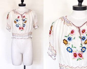 1940s Japanese Embroidered Peasant Blouse with Matching Hankerchief | Size Extra Small - Small | 40s Hungarian Style Peasant Blouse