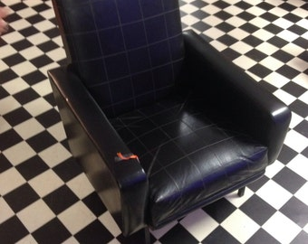 FINAL REDUCTION! Rare vintage mid century modern leatherette black leather chair. 1950's Mad Men era top quality condition. Atomic Armchair.