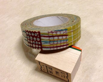 "15mm Classiky washi masking tape ""Textile"" design. Greenish-yellow (wasabi color). Journaling, paper tape"