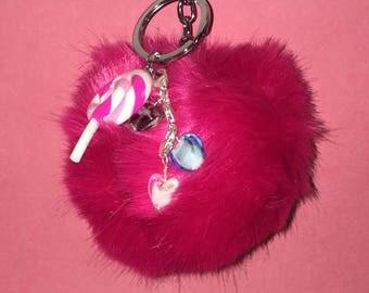 Dark Pink Lollipop PomPom Keychain