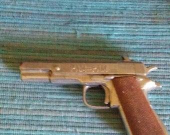 45 automatic, mini cap gun, die cast, vintage, toy