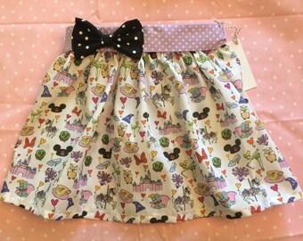 Disney Doodles Dumbo Castle Tinkerbell Elastic Waist Bow Belt Twirl Skirt baby Toddler Girl