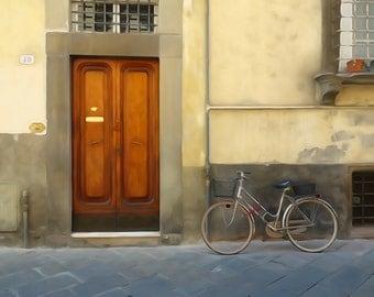 Watercolour effect photography print  'Bicycle by Tuscan Doors'  -Fine Art Print -  Italy Wall art - door wall art - Italian Home Decor