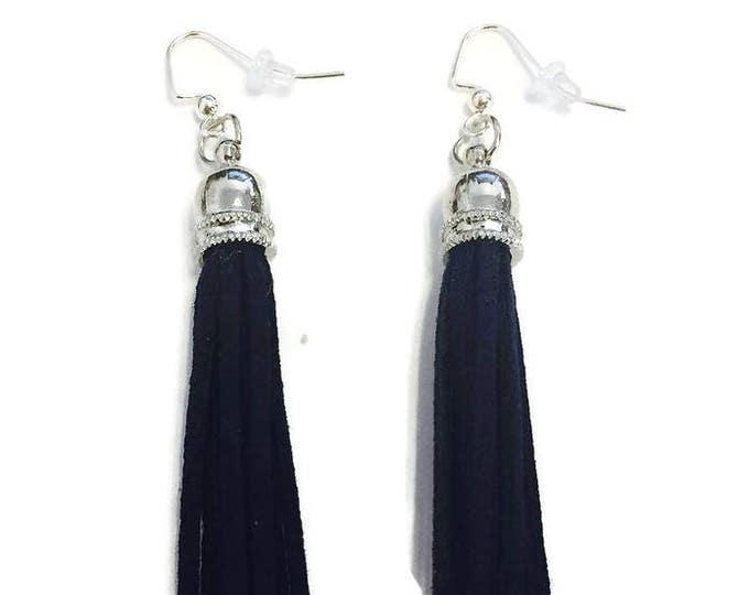 Tassel Earrings- Blue Suede Tassel Earrings- Pink Suede Tassel Earrings- Tassel Earrings are 2 inches long with Silver Plate Earring Backs