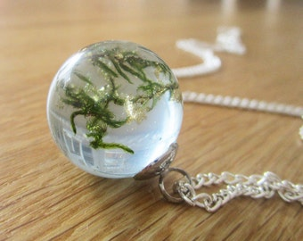 MOSS and gold leaf necklace
