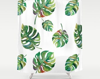 palm leaves shower curtain green and white shower curtain tropical botanical print watercolor palms bold palm
