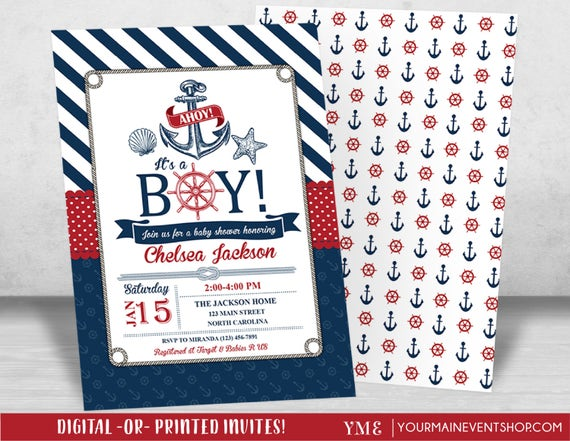 Nautical Baby Shower Invitation - Beach Boy Baby Shower - Ahoy It's a Boy - Anchor Invite # 023
