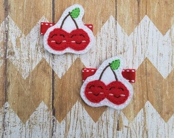 Cherry hair clips, cherry hair clippies, toddler hair clips, baby hair clips, clippies set, hair clips, felt hair clips, cherry hair bows