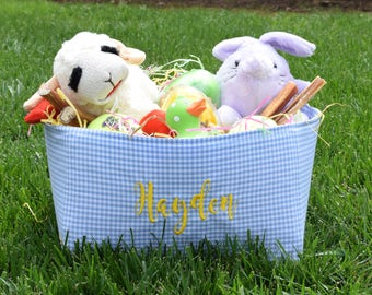 Personalized Easter Baskets || Gingham Pet Toy Bin for you Dog or Cat || Pink Blue Green Gingham Puppy Gift  by Three Spoiled Dogs