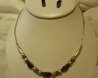 F72 Vintage Silvertone with Hematite Necklace and Matching Earrings.