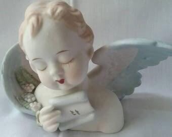 Vintage Angel or Cherub Figurine Occupied Japan Porcelain Bisque