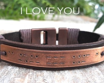 Valentines Day Gift for Him, Copper Anniversary, Personalized Morse Code Leather Bracelet, I Love You Morse Code Jewelry, Mens Bracelet
