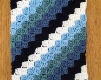 Blue Corner to Corner Crochet Baby Blanket