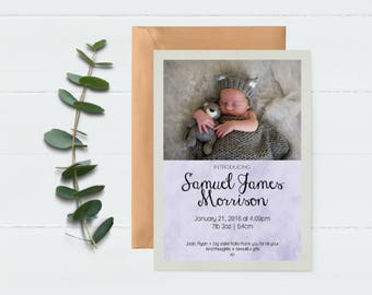Baby Photo Card - Birth Announcement - Thank You Card - Baby Thank You - Baby Announcement - Newborn Announcement - Welcome Baby -
