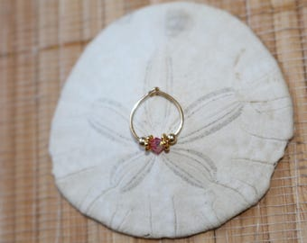 Swarovski crystal Indian nose ring. Septum. Handmade. Gift. Women. Jewelry. Gold. Nose hoop. Bohemian.Stone. Statement Ring. Nose ring hoop