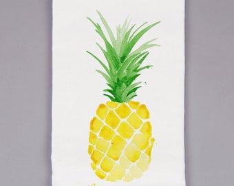 White Flour Sack Towel - Pineapple