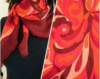 Vintage 60s Red Brown Wool Psychedelic Hand Painted Scarf 26""