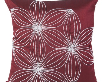 Maroon Decorative Pillow Cover Floral Beaded Garnett Accent Pillow Bordeaux Floral Beaded Throw Pillow 14x14 16x16 18x18 20x20