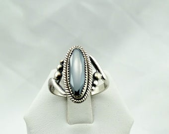 Lovely Natural Metallic Hematite Cabochon in a Vintage Sterling Silver Ring #HEMATITE-SR2