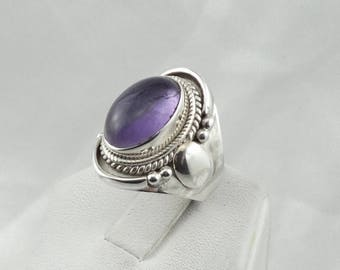 Simple Amethyst Cabochon Set With Swirls In A Vintage Sterling Silver Saddle Ring  #SADDLE3-SR4