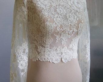 Wedding bolero, top, jacket of lace,alencon, sleeve long or 3/4, front of a full,  . Romance bridal bolero KARINA 2
